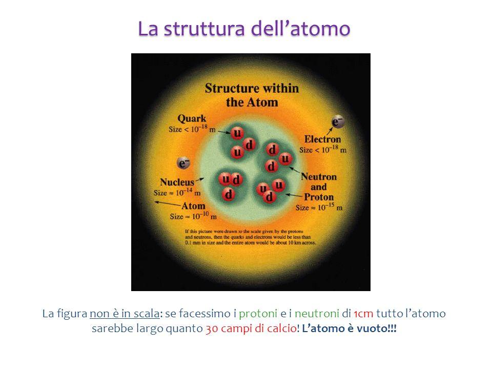 La figura non è in scala: se facessimo i protoni e i neutroni di 1cm tutto latomo sarebbe largo quanto 30 campi di calcio! Latomo è vuoto!!! La strutt
