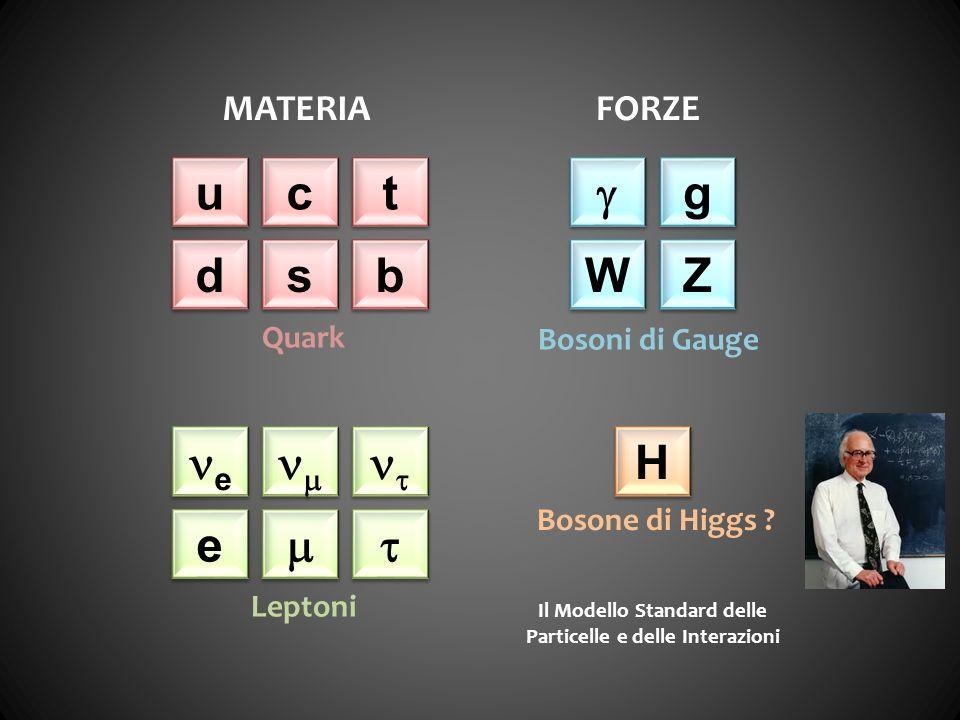 u u c c t t d d s s b b e e e e g g W W Z Z H H MATERIAFORZE Quark Leptoni Bosoni di Gauge Bosone di Higgs ? Il Modello Standard delle Particelle e de