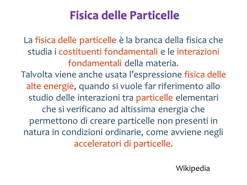 La fisica delle particelle è la branca della fisica che studia i costituenti fondamentali e le interazioni fondamentali della materia. Talvolta viene