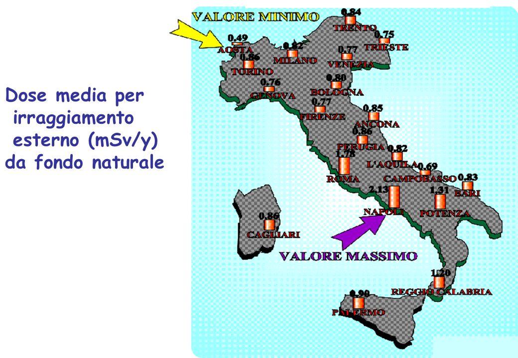 G. Moschini, G. Pavarin, M. Pelliccioni, E. Righi Dose media per irraggiamento esterno (mSv/y) da fondo naturale