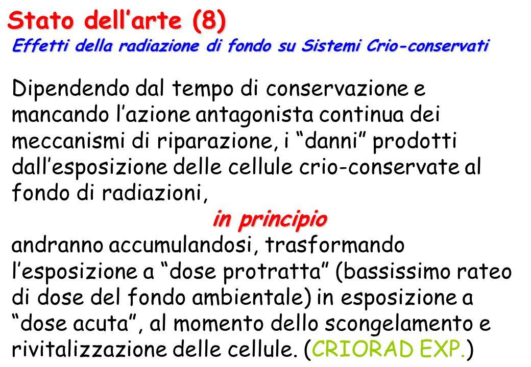 Stato dellarte (8) Effetti della radiazione di fondo su Sistemi Crio-conservati Dipendendo dal tempo di conservazione e mancando lazione antagonista c
