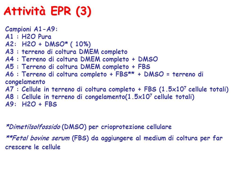 Attività EPR (3) Campioni A1-A9: A1 : H2O Pura A2: H2O + DMSO* ( 10%) A3 : terreno di coltura DMEM completo A4 : Terreno di coltura DMEM completo + DMSO A5 : Terreno di coltura DMEM completo + FBS A6 : Terreno di coltura completo + FBS** + DMSO = terreno di congelamento A7 : Cellule in terreno di coltura completo + FBS (1.5x10 7 cellule totali) A8 : Cellule in terreno di congelamento(1.5x10 7 cellule totali) A9: H2O + FBS *Dimetilsolfossido (DMSO) per crioprotezione cellulare **Fetal bovine serum (FBS) da aggiungere al medium di coltura per far crescere le cellule