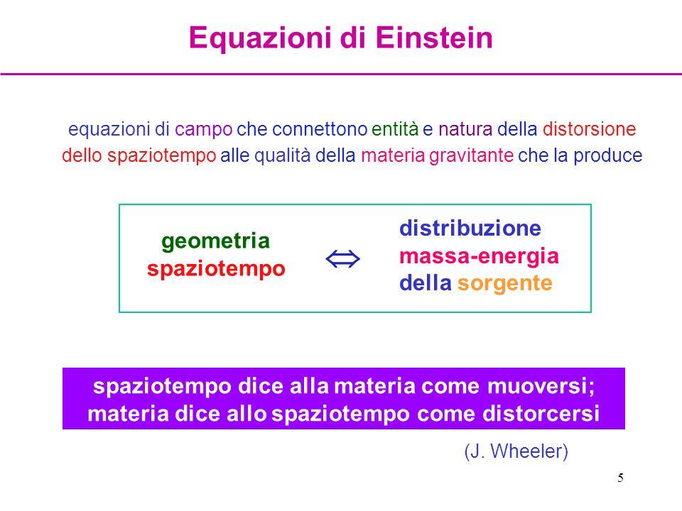 5 equazioni di campo che connettono entità e natura della distorsione dello spaziotempo alle qualità della materia gravitante che la produce geometria