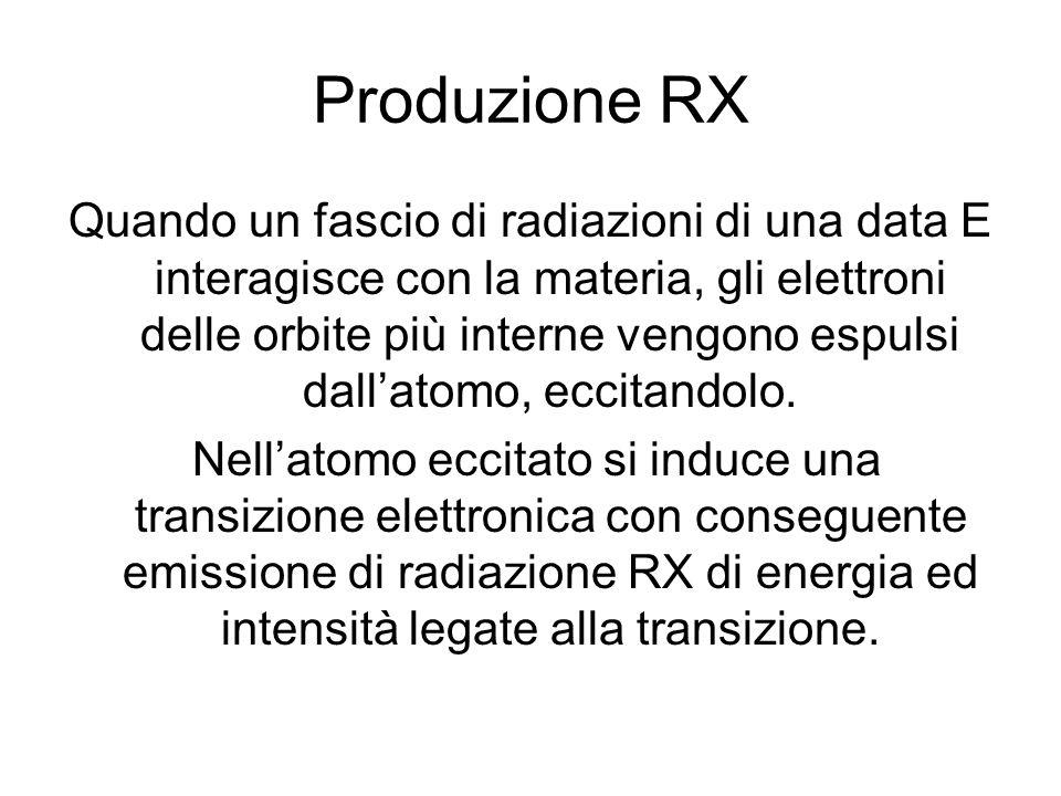 Produzione RX Quando un fascio di radiazioni di una data E interagisce con la materia, gli elettroni delle orbite più interne vengono espulsi dallatom