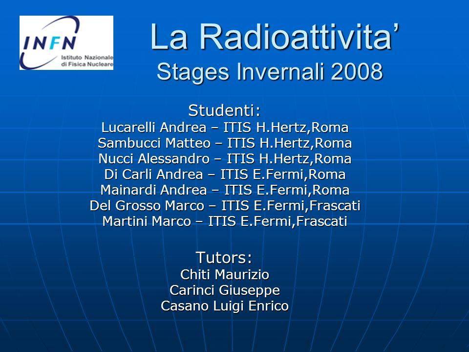 La Radioattivita Stages Invernali 2008 La Radioattivita Stages Invernali 2008 Studenti: Lucarelli Andrea – ITIS H.Hertz,Roma Sambucci Matteo – ITIS H.