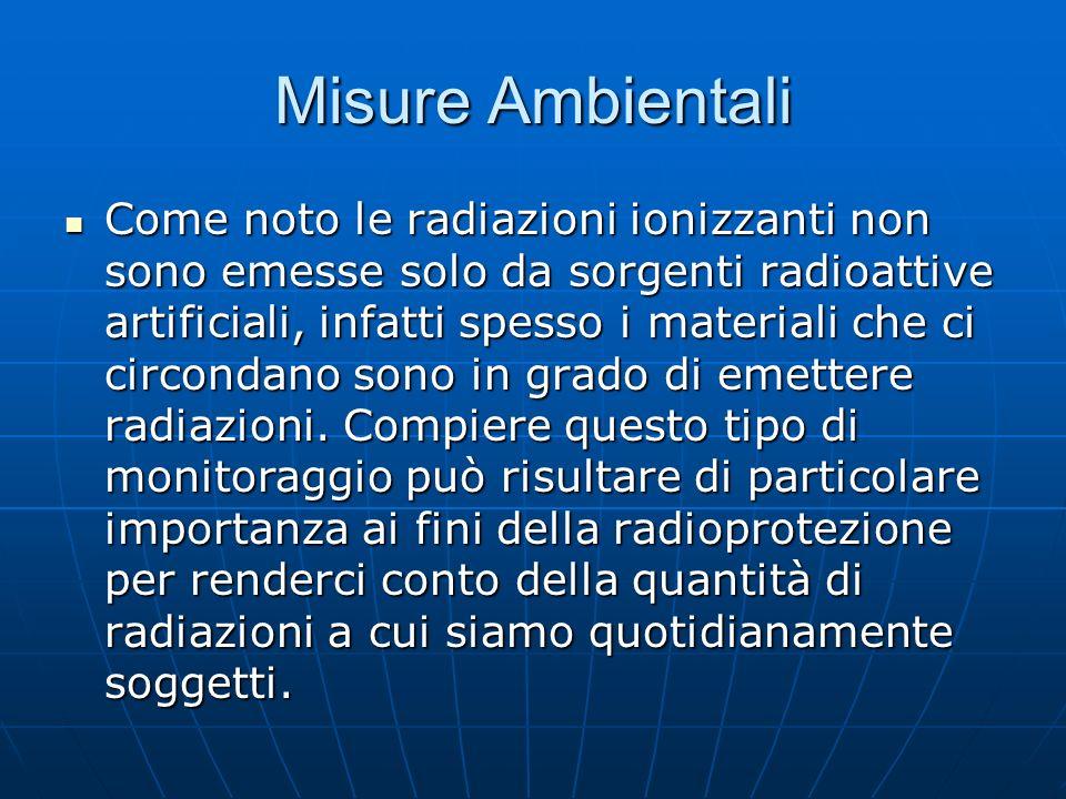 Misure Ambientali Come noto le radiazioni ionizzanti non sono emesse solo da sorgenti radioattive artificiali, infatti spesso i materiali che ci circo