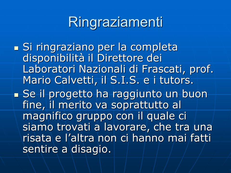Ringraziamenti Si ringraziano per la completa disponibilità il Direttore dei Laboratori Nazionali di Frascati, prof. Mario Calvetti, il S.I.S. e i tut