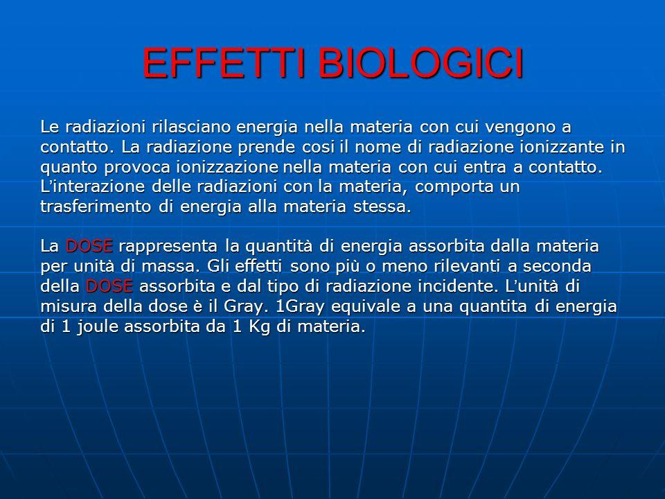 EFFETTI BIOLOGICI Le radiazioni rilasciano energia nella materia con cui vengono a contatto. La radiazione prende cosi il nome di radiazione ionizzant