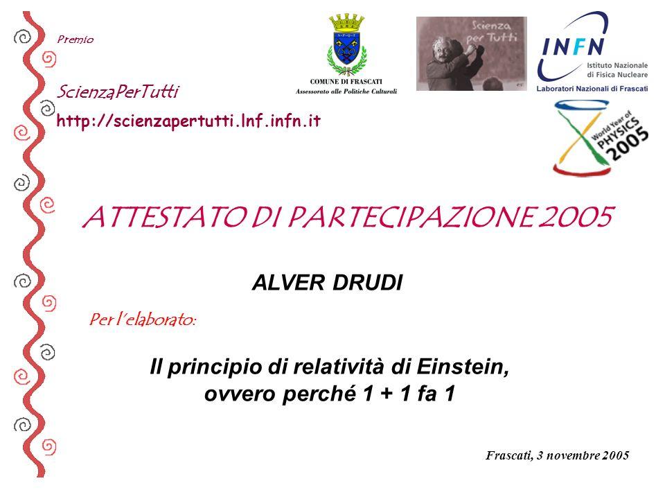 Per lelaborato: Premio ScienzaPerTutti http://scienzapertutti.lnf.infn.it ALVER DRUDI Il principio di relatività di Einstein, ovvero perché 1 + 1 fa 1