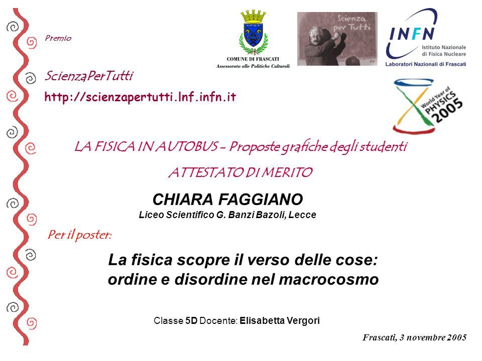 Per il poster: Premio ScienzaPerTutti http://scienzapertutti.lnf.infn.it CHIARA FAGGIANO Liceo Scientifico G. Banzi Bazoli, Lecce La fisica scopre il