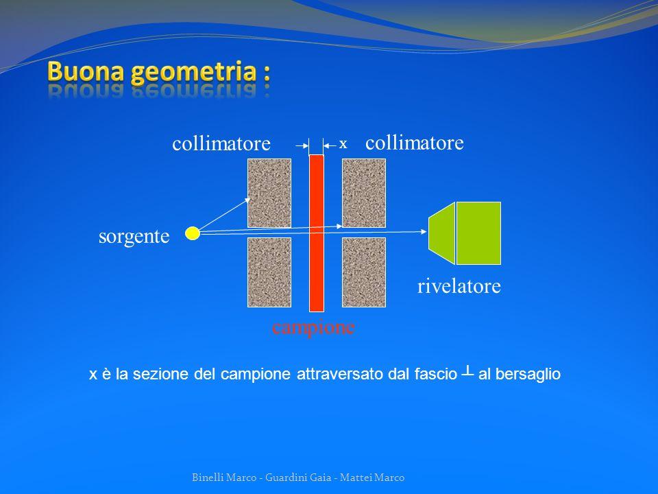 Binelli Marco - Guardini Gaia - Mattei Marco Se il campione è composto da i elementi presenti nella frazione in peso w, allora: È indipendente dalla densità del materiale (x : massa per unità di area)