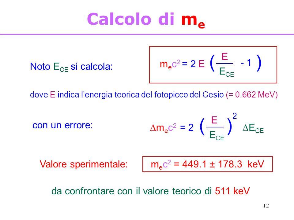 12 Calcolo di m e Noto E CE si calcola: m e c 2 = 2 E E E CE - 1 () dove E indica lenergia teorica del fotopicco del Cesio (= 0.662 MeV) con un errore: m e c 2 = 2 E E CE () 2 Valore sperimentale: m e c 2 = 449.1 ± 178.3 keV da confrontare con il valore teorico di 511 keV