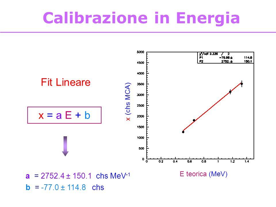 8 E teorica (MeV) x (chs MCA) Calibrazione in Energia x = a E + b a = 2752.4 ± 150.1 chs MeV -1 b = -77.0 ± 114.8 chs Fit Lineare