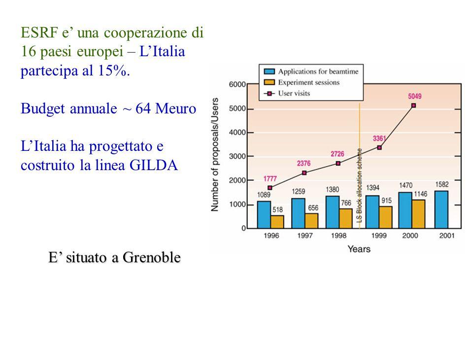 ESRF e una cooperazione di 16 paesi europei – LItalia partecipa al 15%. Budget annuale ~ 64 Meuro LItalia ha progettato e costruito la linea GILDA E s
