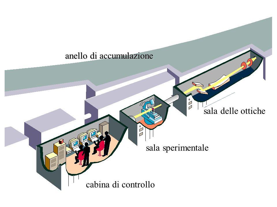 cabina di controllo sala sperimentale sala delle ottiche anello di accumulazione