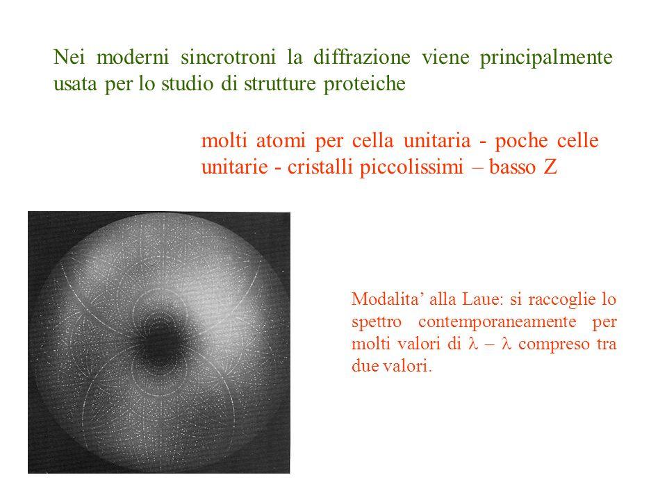 Nei moderni sincrotroni la diffrazione viene principalmente usata per lo studio di strutture proteiche molti atomi per cella unitaria - poche celle un