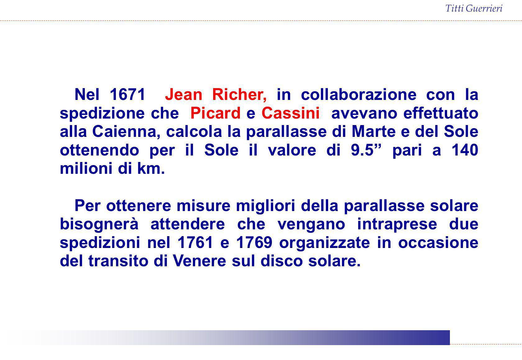 Titti Guerrieri Nel 1671 Jean Richer, in collaborazione con la spedizione che Picard e Cassini avevano effettuato alla Caienna, calcola la parallasse