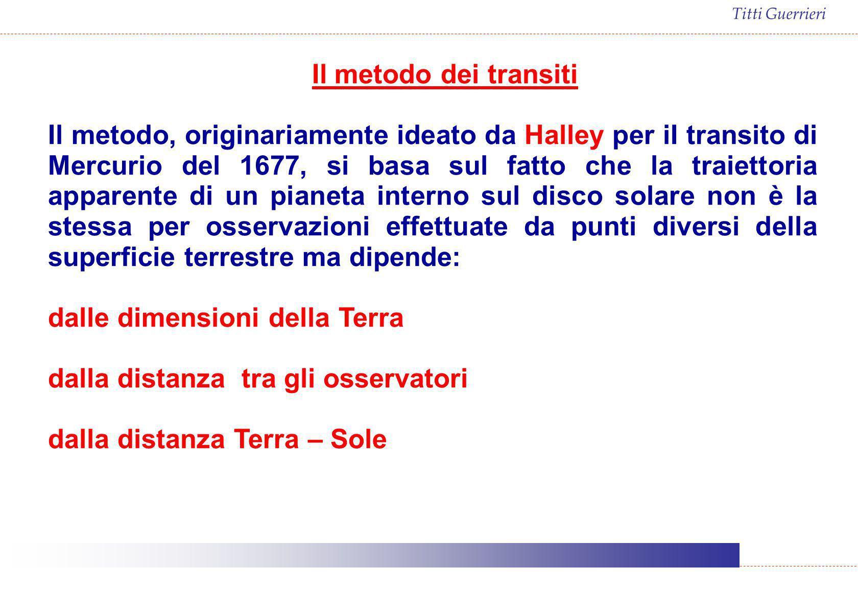 Titti Guerrieri Il metodo dei transiti Il metodo, originariamente ideato da Halley per iI transito di Mercurio del 1677, si basa sul fatto che la trai