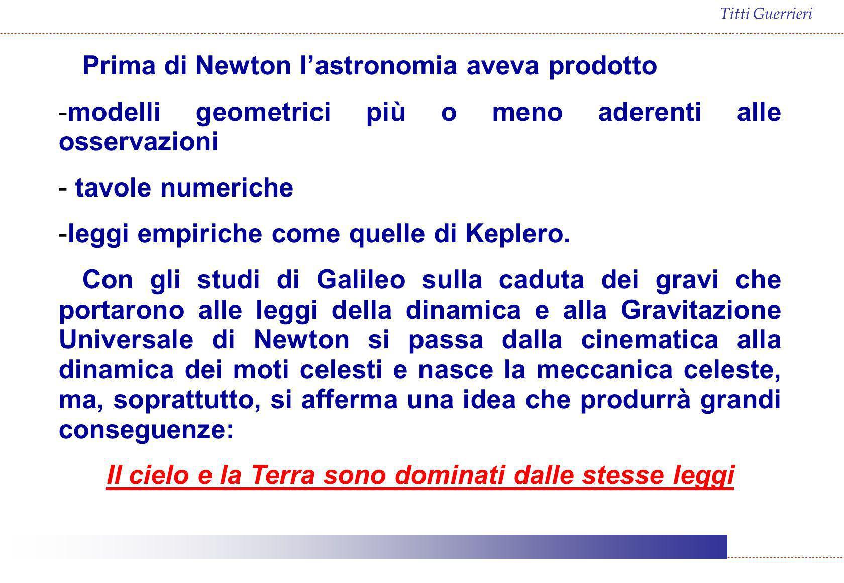 Titti Guerrieri Prima di Newton lastronomia aveva prodotto -modelli geometrici più o meno aderenti alle osservazioni - tavole numeriche -leggi empiric