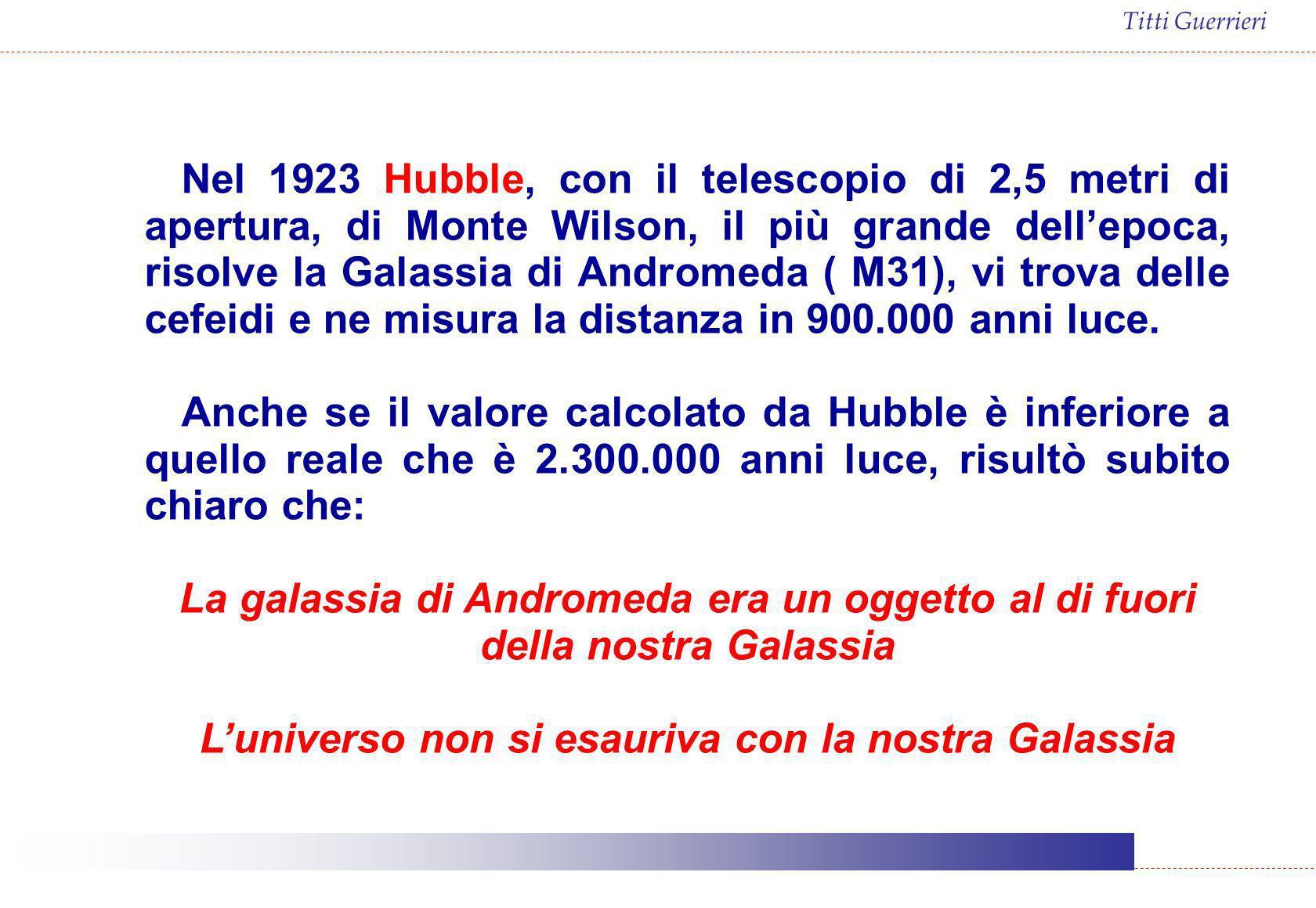 Titti Guerrieri Nel 1923 Hubble, con il telescopio di 2,5 metri di apertura, di Monte Wilson, il più grande dellepoca, risolve la Galassia di Andromed