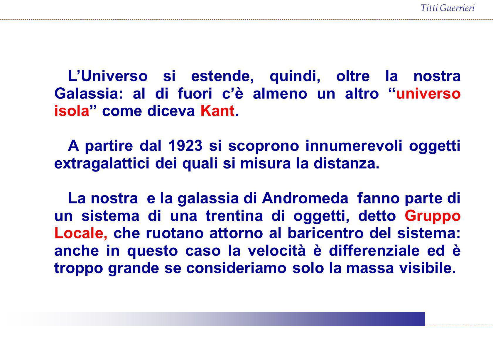 Titti Guerrieri LUniverso si estende, quindi, oltre la nostra Galassia: al di fuori cè almeno un altro universo isola come diceva Kant. A partire dal