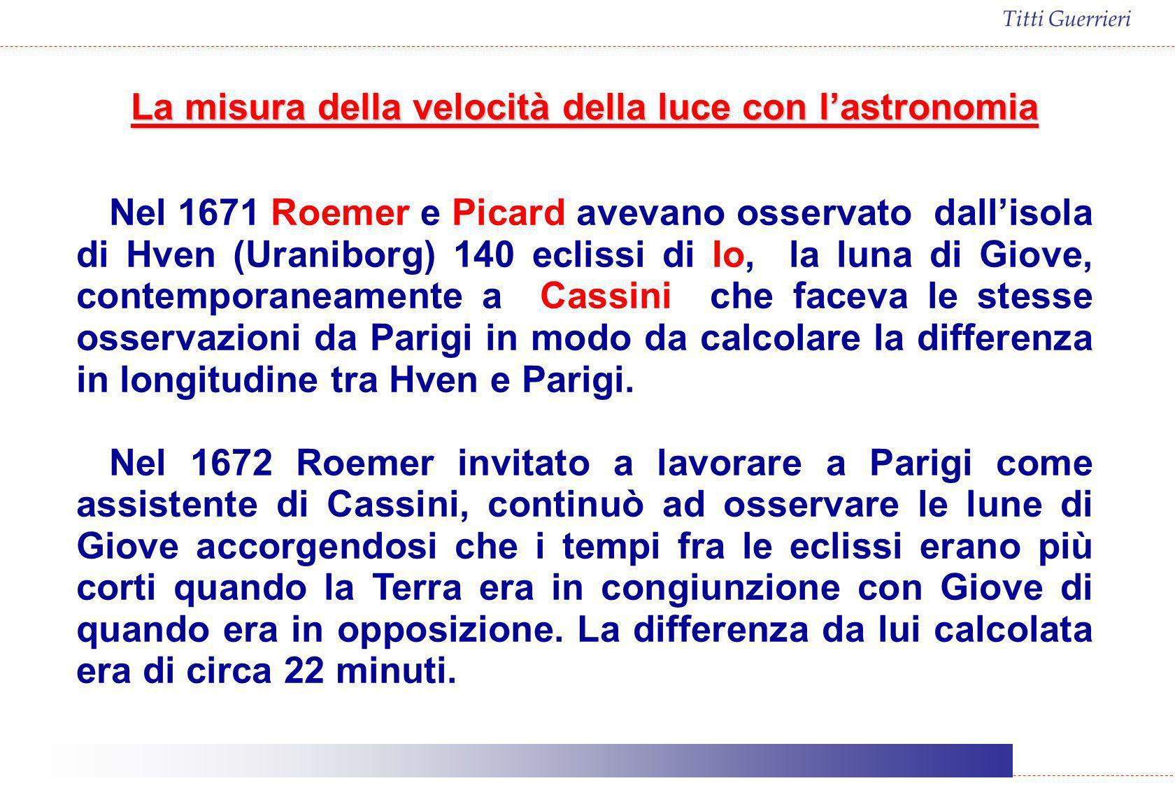 Titti Guerrieri La misura della velocità della luce con lastronomia Nel 1671 Roemer e Picard avevano osservato dallisola di Hven (Uraniborg) 140 eclis