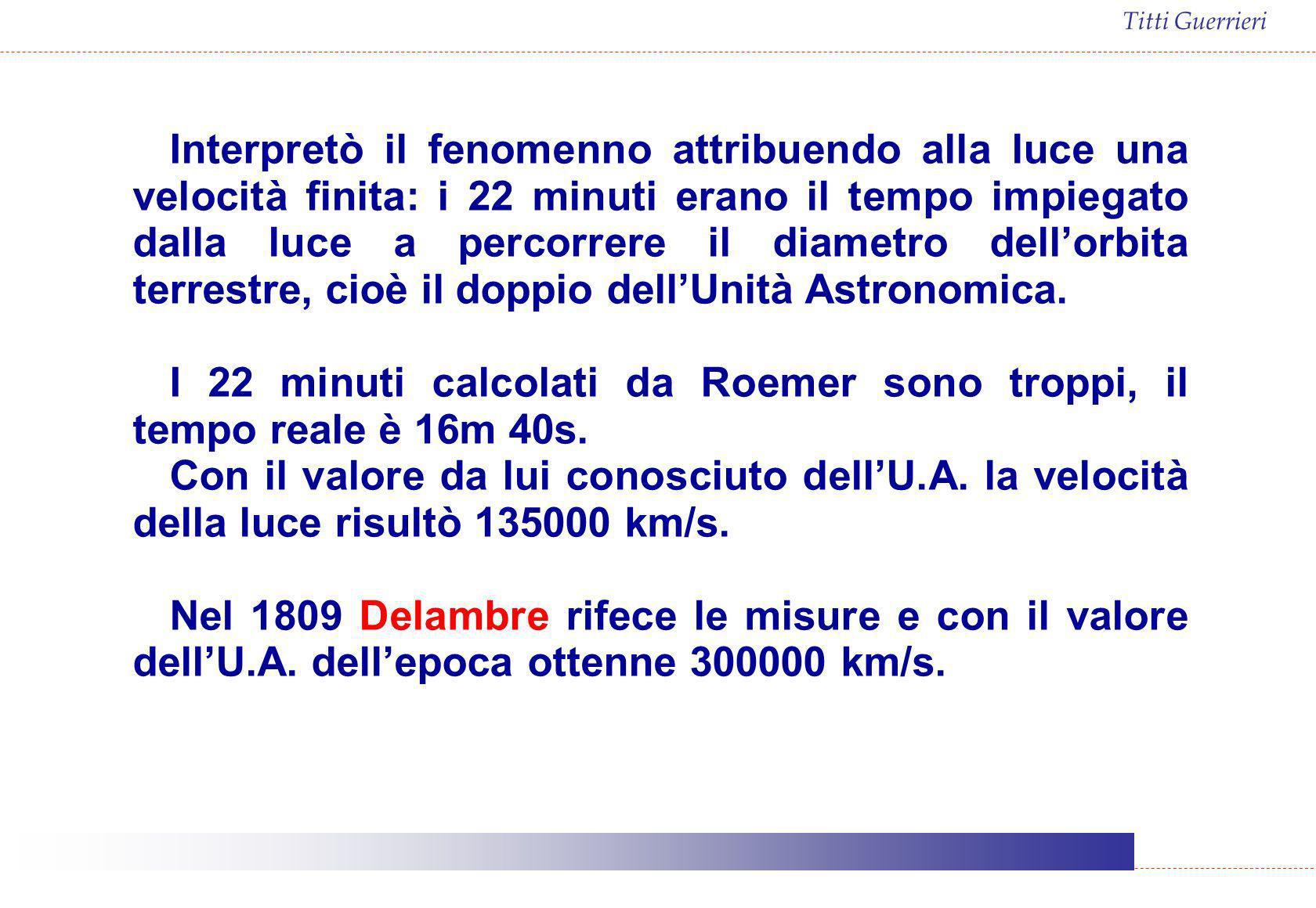 Titti Guerrieri Interpretò il fenomenno attribuendo alla luce una velocità finita: i 22 minuti erano il tempo impiegato dalla luce a percorrere il dia