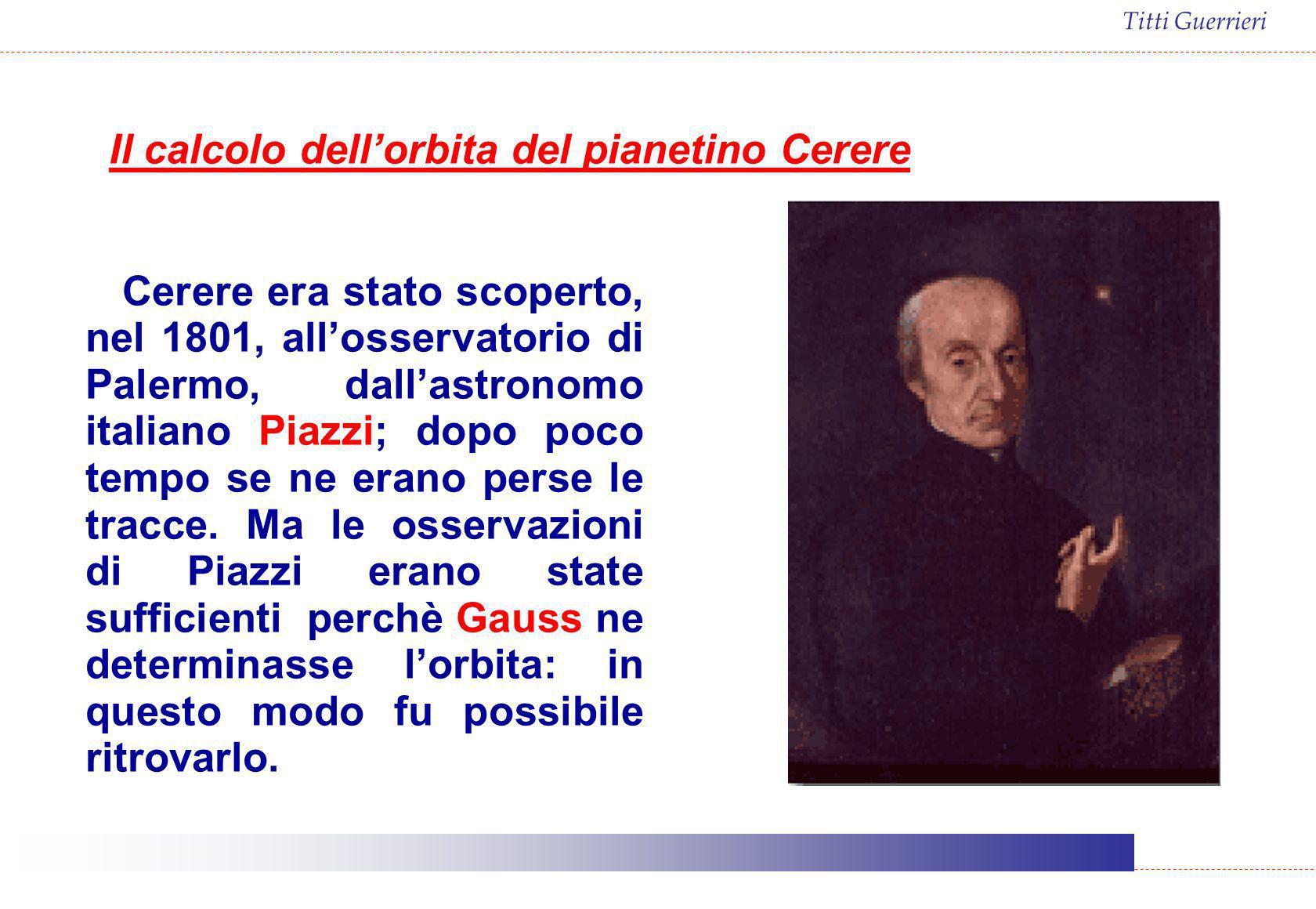 Cerere era stato scoperto, nel 1801, allosservatorio di Palermo, dallastronomo italiano Piazzi; dopo poco tempo se ne erano perse le tracce. Ma le oss