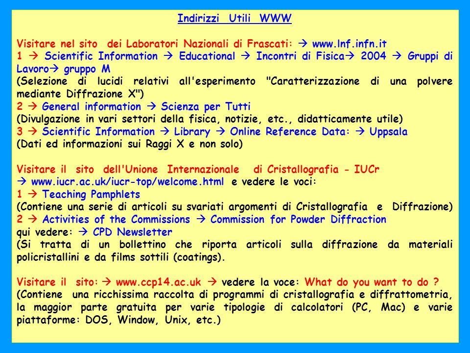 Oct. 2004LNF - Laboratorio Dafne Luce26 Indirizzi Utili WWW Visitare nel sito dei Laboratori Nazionali di Frascati: www.lnf.infn.it 1 Scientific Infor