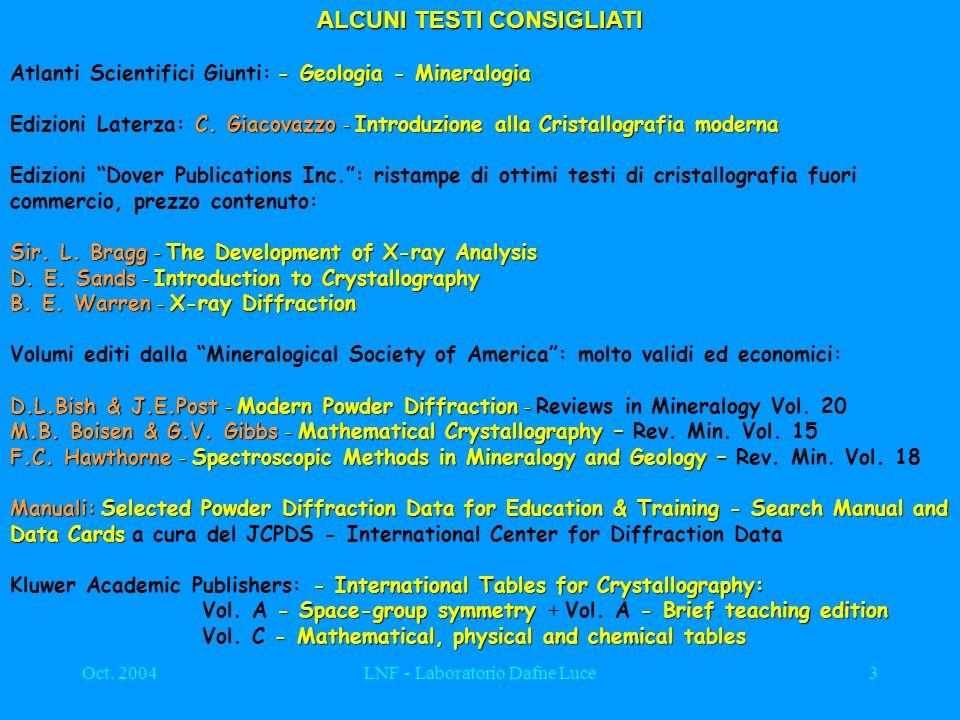 Oct. 2004LNF - Laboratorio Dafne Luce3 ALCUNI TESTI CONSIGLIATI - Geologia - Mineralogia Atlanti Scientifici Giunti: - Geologia - Mineralogia C. Giaco