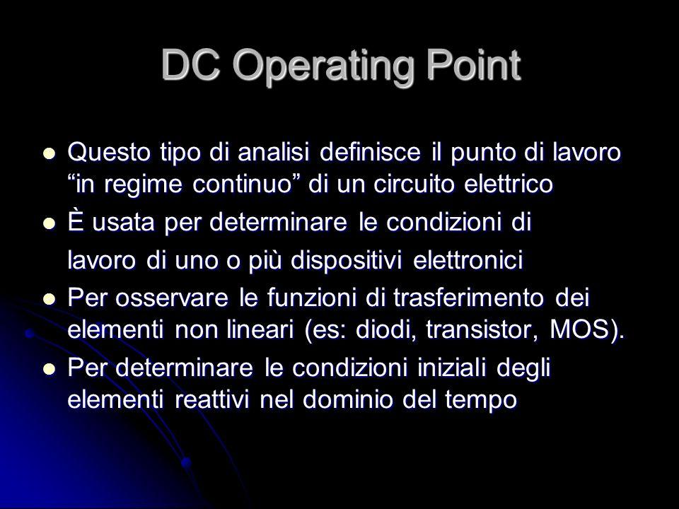 DC Operating Point Questo tipo di analisi definisce il punto di lavoro in regime continuo di un circuito elettrico Questo tipo di analisi definisce il