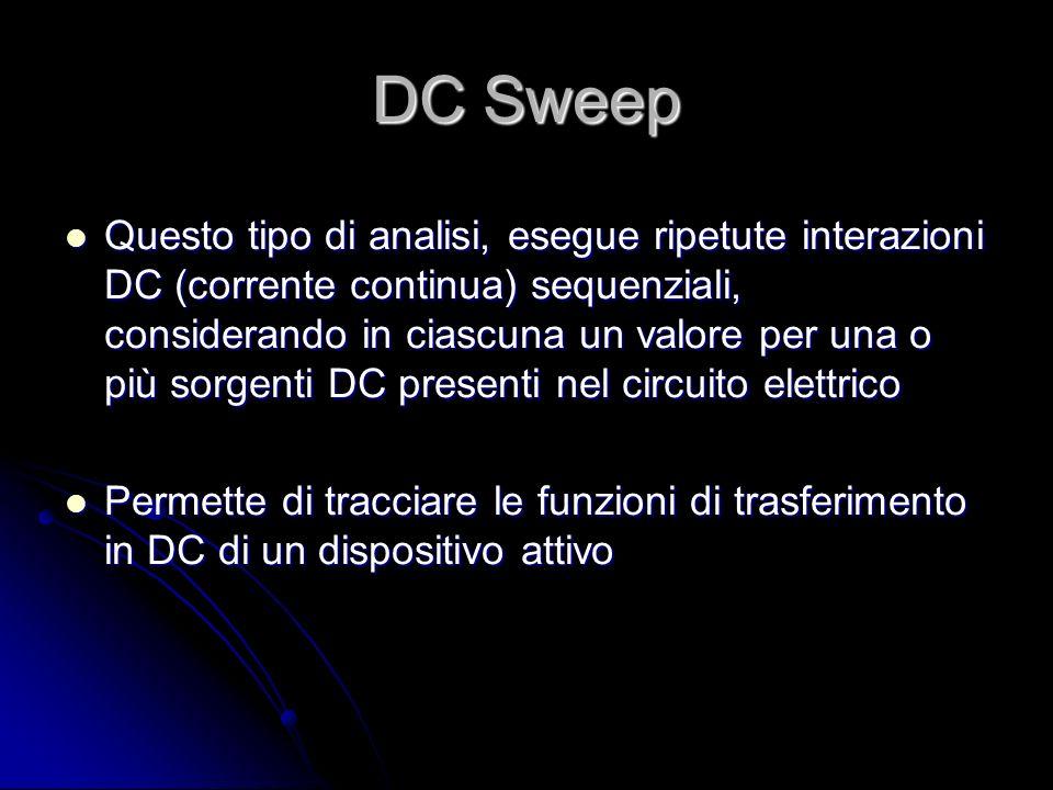 DC Sweep Questo tipo di analisi, esegue ripetute interazioni DC (corrente continua) sequenziali, considerando in ciascuna un valore per una o più sorg