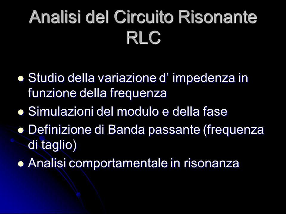 Analisi del Circuito Risonante RLC Studio della variazione d impedenza in funzione della frequenza Studio della variazione d impedenza in funzione del