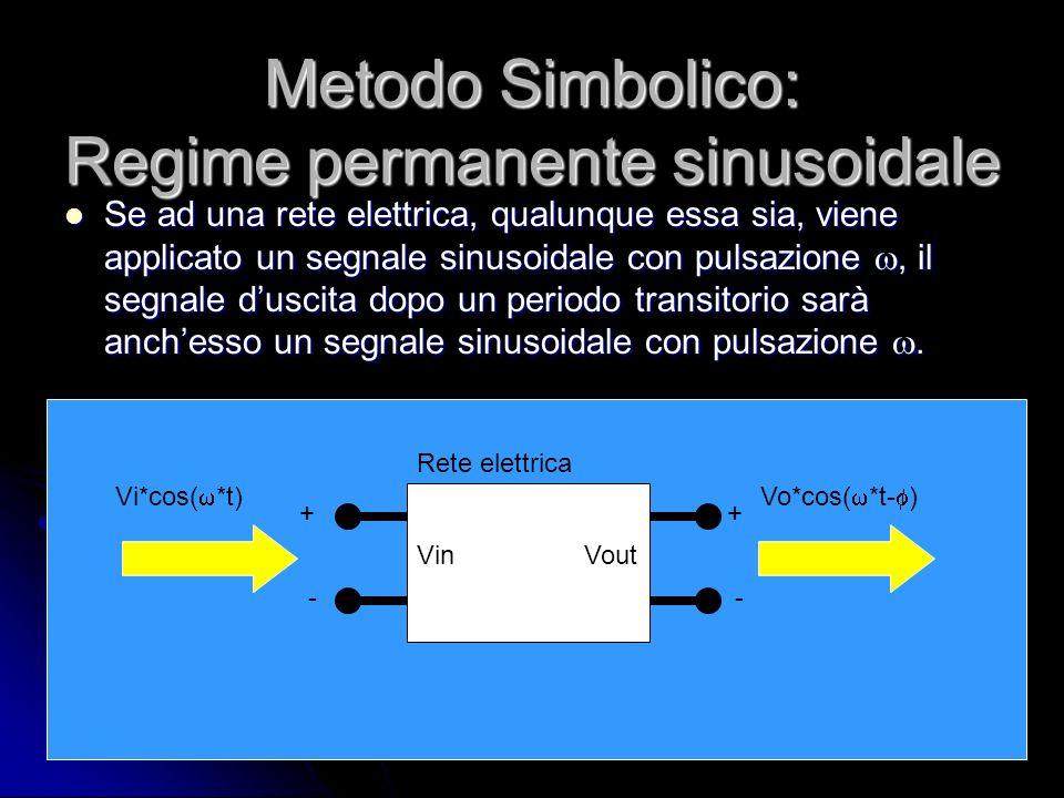 Metodo Simbolico: Regime permanente sinusoidale Se ad una rete elettrica, qualunque essa sia, viene applicato un segnale sinusoidale con pulsazione, i
