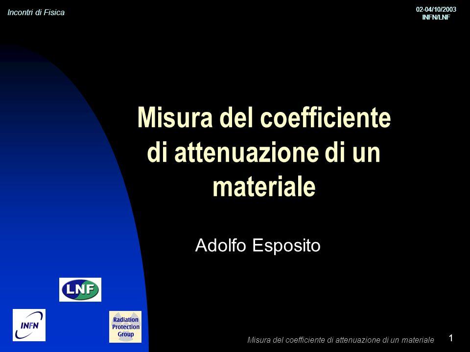 Incontri di Fisica 02-04/10/2003 INFN/LNF 02-04/10/2003 INFN/LNF Misura del coefficiente di attenuazione di un materiale 1 Adolfo Esposito