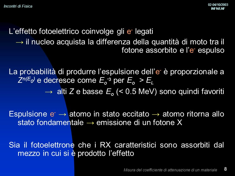 Incontri di Fisica 02-04/10/2003 INFN/LNF 02-04/10/2003 INFN/LNF Misura del coefficiente di attenuazione di un materiale 8 Leffetto fotoelettrico coinvolge gli e - legati il nucleo acquista la differenza della quantità di moto tra il fotone assorbito e le - espulso La probabilità di produrre lespulsione delle - è proporzionale a Z n(E 0 ) e decresce come E o - 3 per E o > E L alti Z e basse E o (< 0.5 MeV) sono quindi favoriti Espulsione e - atomo in stato eccitato atomo ritorna allo stato fondamentale emissione di un fotone X Sia il fotoelettrone che i RX caratteristici sono assorbiti dal mezzo in cui si è prodotto leffetto