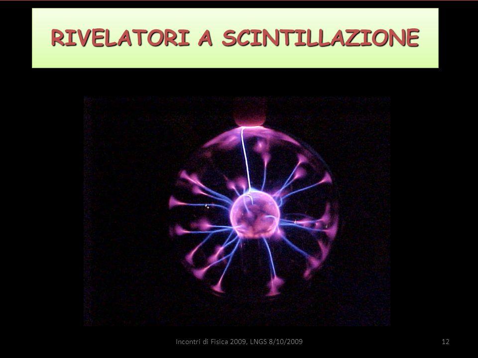 RIVELATORI A SCINTILLAZIONE 12Incontri di Fisica 2009, LNGS 8/10/2009