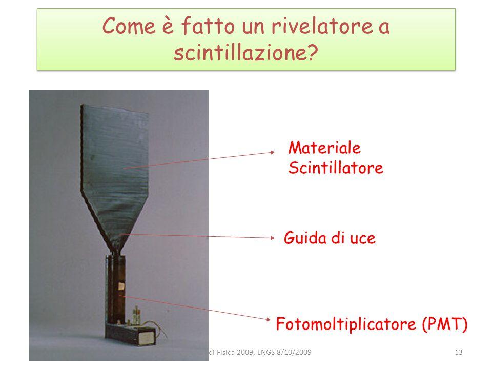 Come è fatto un rivelatore a scintillazione? Materiale Scintillatore Guida di uce Fotomoltiplicatore (PMT) 13Incontri di Fisica 2009, LNGS 8/10/2009