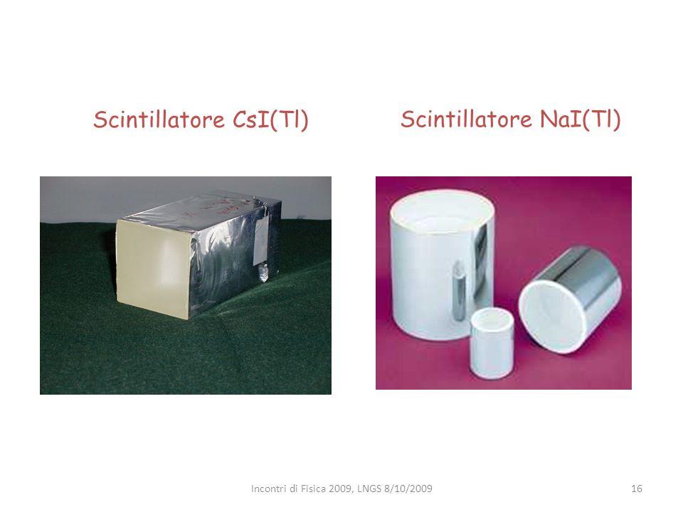 Scintillatore CsI(Tl) Scintillatore NaI(Tl) 16Incontri di Fisica 2009, LNGS 8/10/2009
