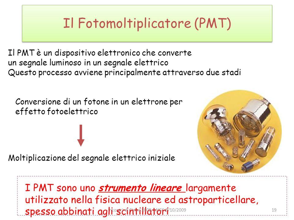 Il Fotomoltiplicatore (PMT) Il PMT è un dispositivo elettronico che converte un segnale luminoso in un segnale elettrico Questo processo avviene princ