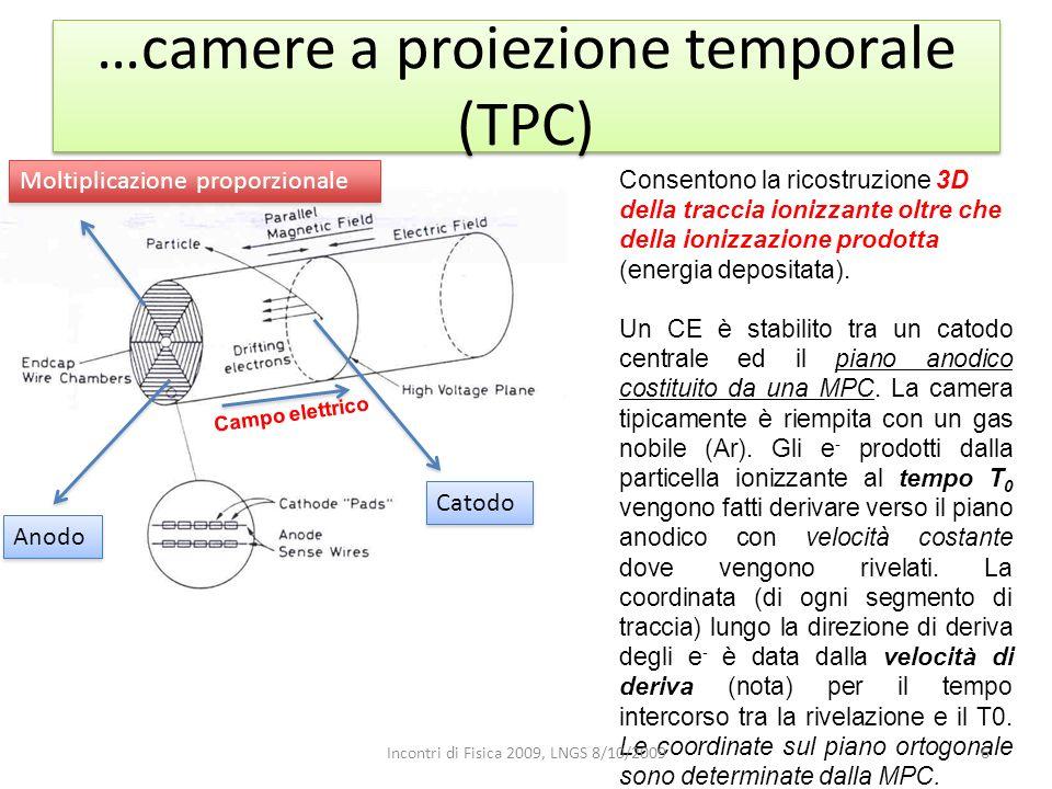 …camere a proiezione temporale (TPC) Anodo Catodo Campo elettrico Moltiplicazione proporzionale Consentono la ricostruzione 3D della traccia ionizzant