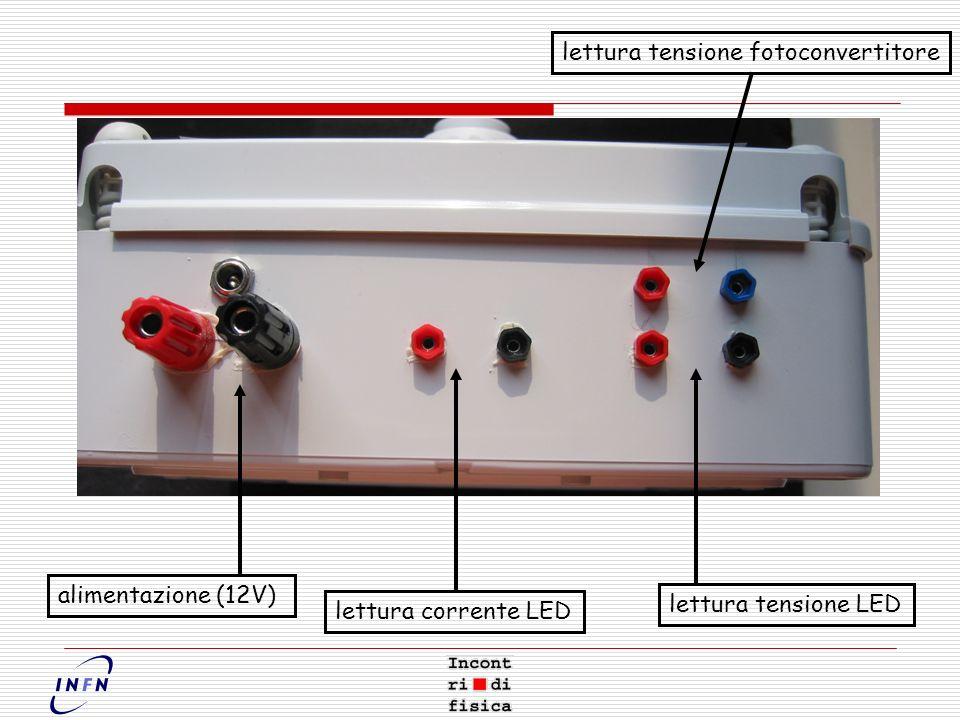 alimentazione (12V) lettura corrente LED lettura tensione LED lettura tensione fotoconvertitore