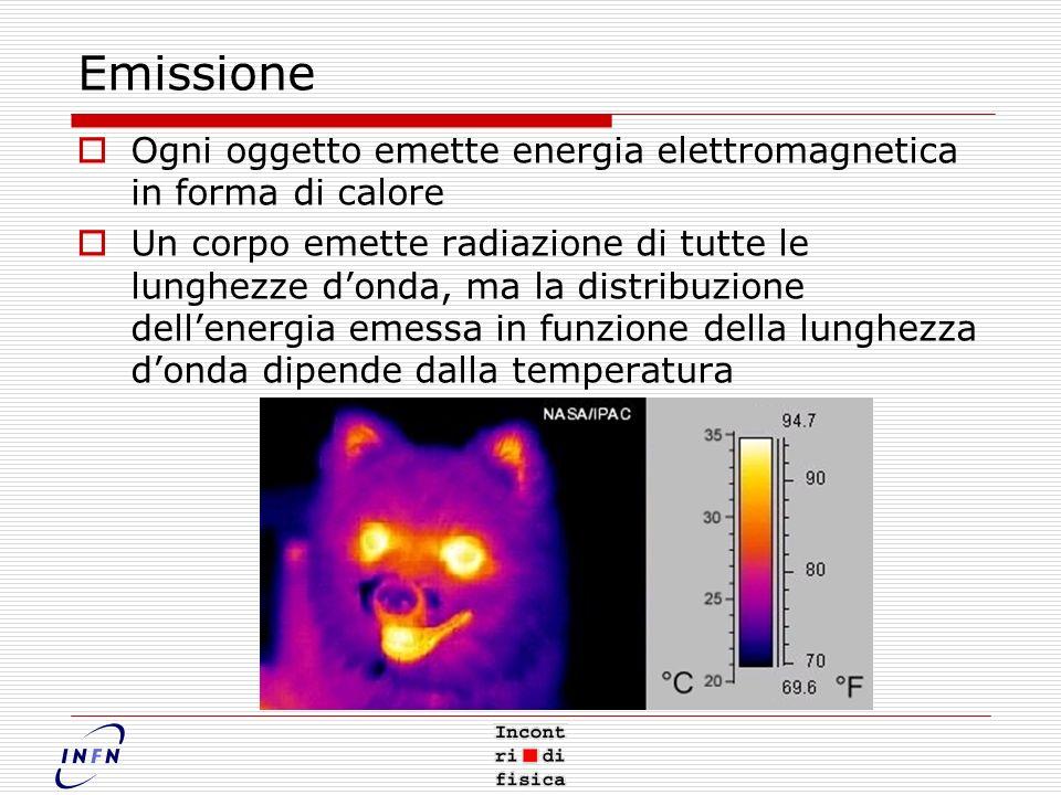 Emissione Ogni oggetto emette energia elettromagnetica in forma di calore Un corpo emette radiazione di tutte le lunghezze donda, ma la distribuzione dellenergia emessa in funzione della lunghezza donda dipende dalla temperatura