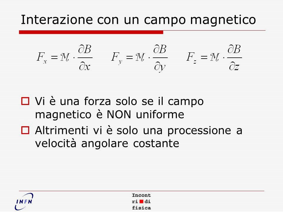 Interazione con un campo magnetico Vi è una forza solo se il campo magnetico è NON uniforme Altrimenti vi è solo una processione a velocità angolare costante