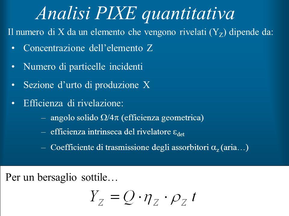 42 Analisi PIXE quantitativa Concentrazione dellelemento Z Numero di particelle incidenti Sezione durto di produzione X Efficienza di rivelazione: –an