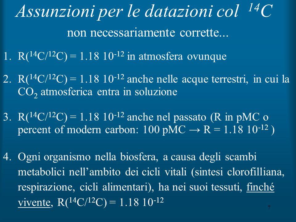 7 non necessariamente corrette... 1.R( 14 C/ 12 C) = 1.18 10 -12 in atmosfera ovunque 2.R( 14 C/ 12 C) = 1.18 10 -12 anche nelle acque terrestri, in c