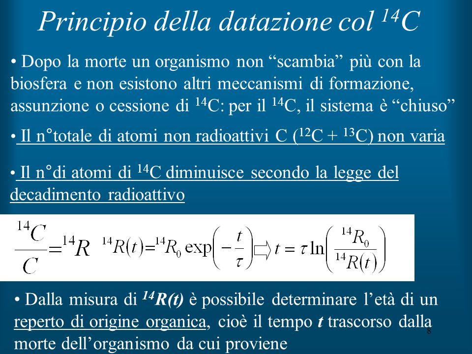 8 Principio della datazione col 14 C Il n°totale di atomi non radioattivi C ( 12 C + 13 C) non varia Dalla misura di 14 R(t) è possibile determinare l