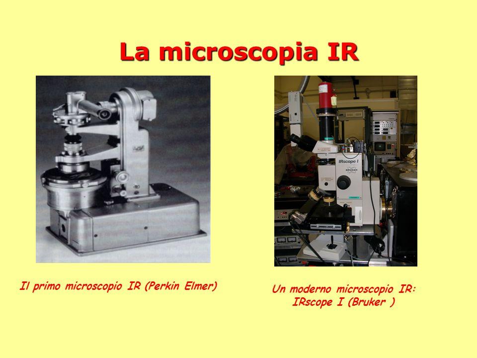 La microscopia IR Il primo microscopio IR (Perkin Elmer) Un moderno microscopio IR: IRscope I (Bruker )
