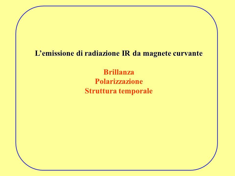 Lemissione di radiazione IR da magnete curvante Brillanza Polarizzazione Struttura temporale