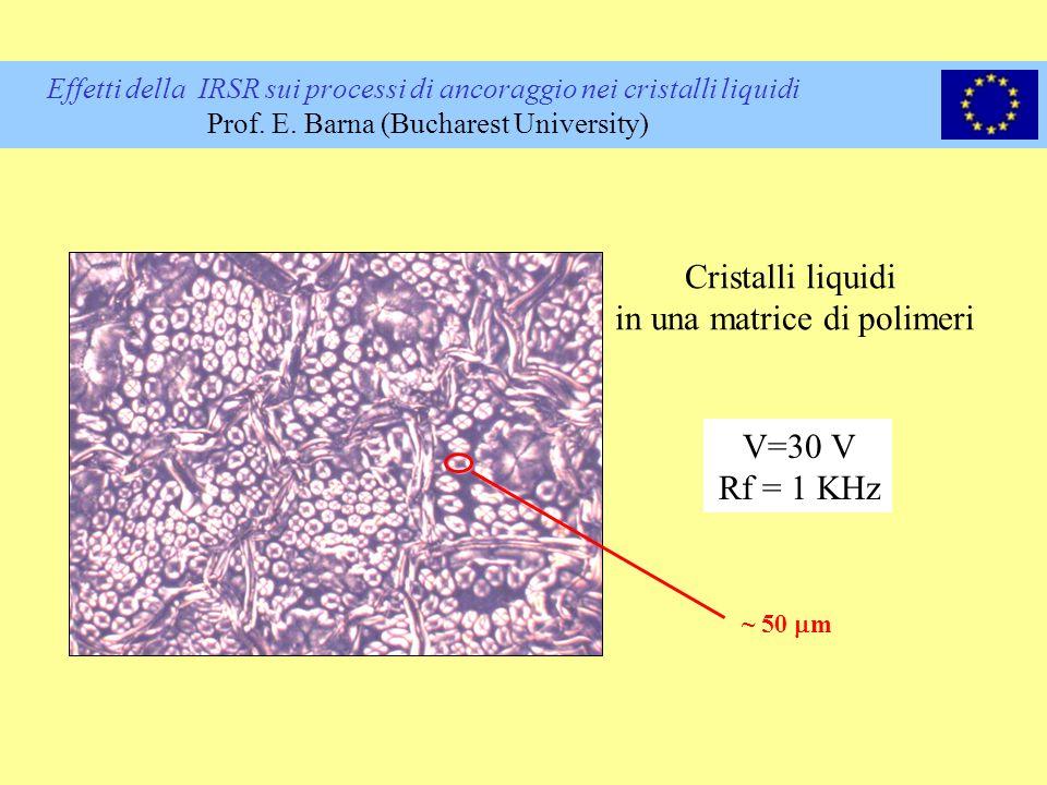 Effetti della IRSR sui processi di ancoraggio nei cristalli liquidi Prof. E. Barna (Bucharest University) Cristalli liquidi in una matrice di polimeri